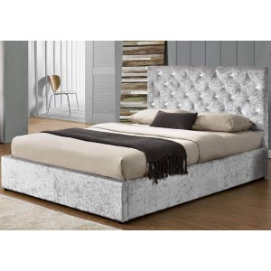 Sleep Design Chatsworth Crushed Velvet Ottoman Bed Frame in Silver -