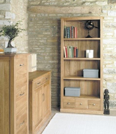 Baumhaus Mobel Oak Large 3 Drawer Bookcase-color Oak