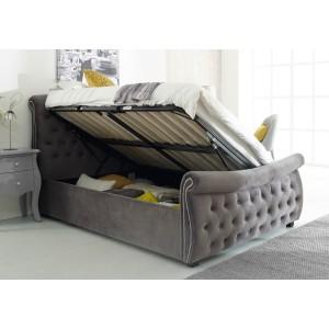 Flair Furnishings Lucinda Chesterfield Side Lift Ottoman Bed Silver Velvet-