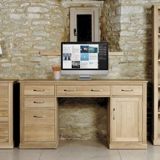 Baumhaus Mobel Oak Twin Pedestal Computer Desk-color Oak