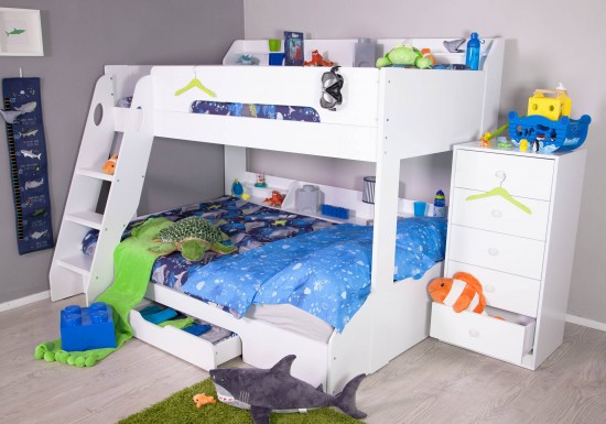 Flair Furnishings Flick Triple Bunk bed White-color Maple