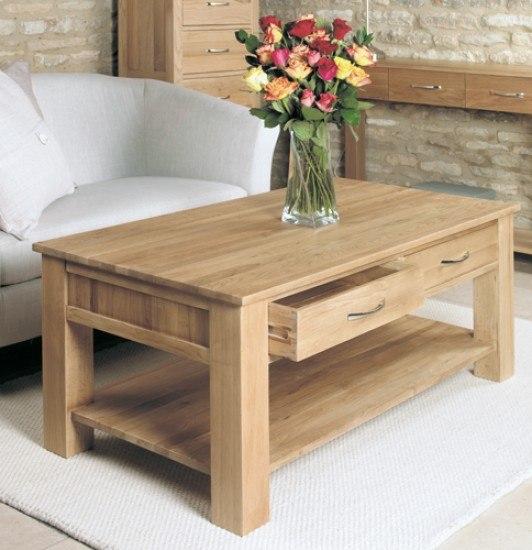 Baumhaus Mobel Oak Four Drawer Coffee Table-color Oak