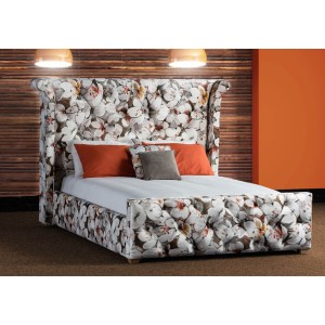 Imogen Bed - Shown in Tulip Burn Orange Fabric