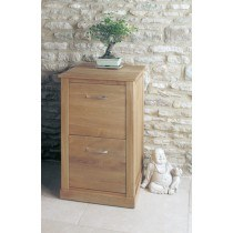Baumhaus Mobel Oak Two Drawer Filing Cabinet-