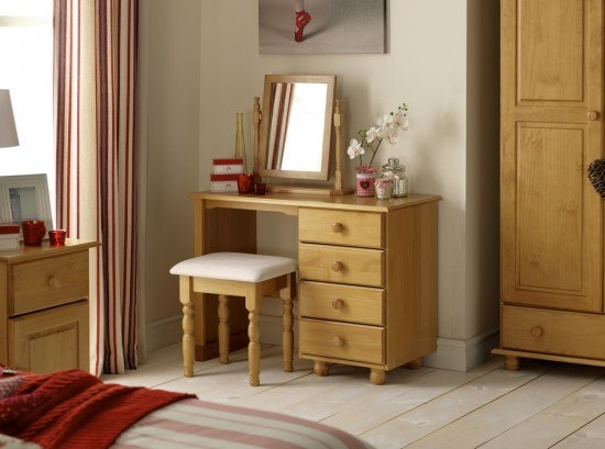 Julian Bowen Pickwick Single Pedestal Dressing Table-color Pine