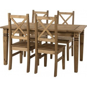 Seconique Salvador 1+4 Pine Dining Set-