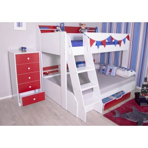 Flair Furnishings Flick Triple Bunk Bed Red And White-