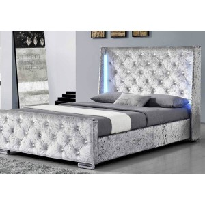 Sleep Design Dorchester LED Silver Crushed Velvet Bed Frame -