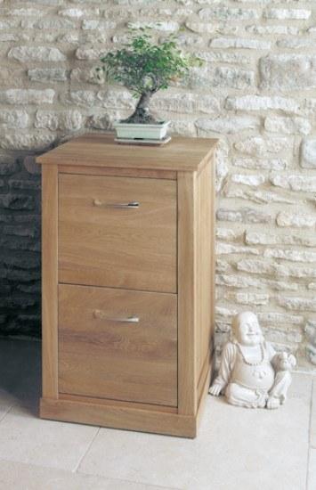 Baumhaus Mobel Oak Two Drawer Filing Cabinet-color Oak