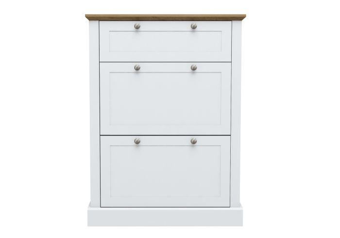 LPD Devon White& Oak 3 Tier Shoe Cabinet