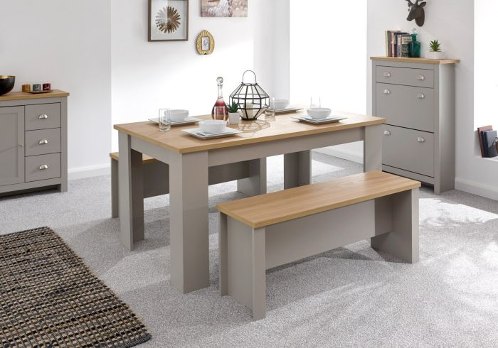 GFW Lancaster 150cm Dining Table and Benches