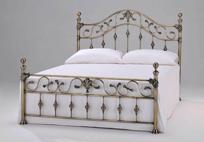 Harmony Elizabeth With Brass Finials Metal Bedframe