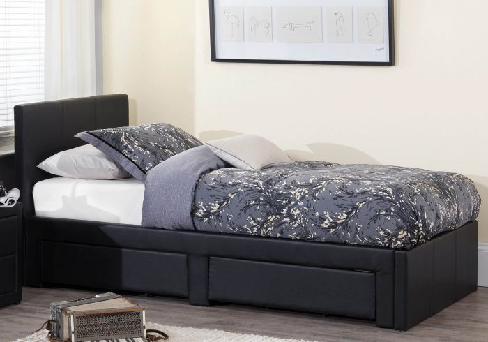 Serene Latino Faux Leather 2 Drawer Bed Frame