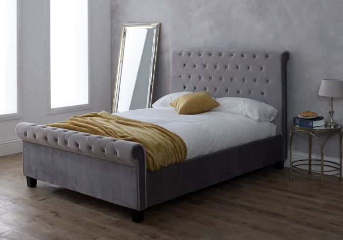 Limelight Orbit Fabric Bed Frame in Silver