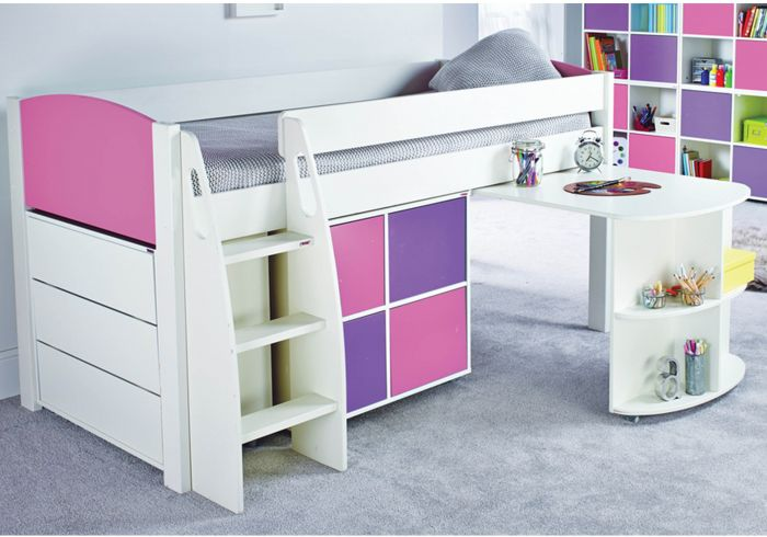 Stompa UNO S Midsleeper With Desk, Cube Unit And Chest Of Drawers
