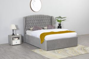 Flair Adelina Winged Velvet Ottoman Bed Frame