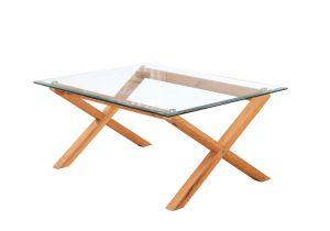 LPD Cadiz Coffee Table Glass & Solid Oak