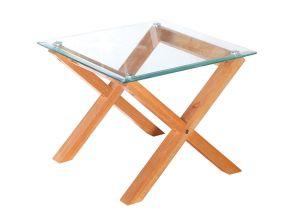 LPD Cadiz Lamp Table Glass & Solid Oak