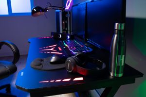Flair Power D LED Gaming Desk Tempered Glass Top Black Dark Grey