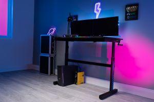 Flair Power E Gaming Desk Height Adjustable Ergonomic Black Blue