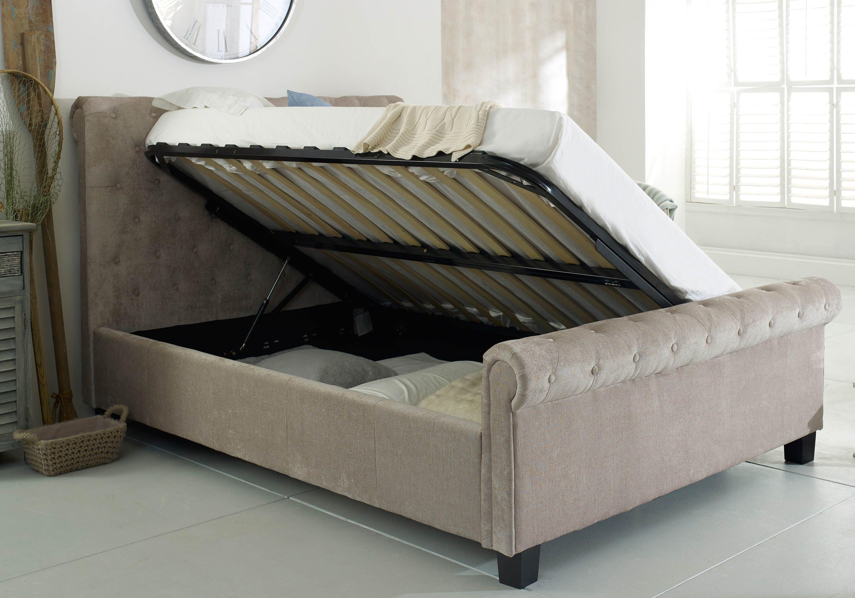 Flair Furnishings Lola Fabric Upholstered Sleigh Ottoman Bed