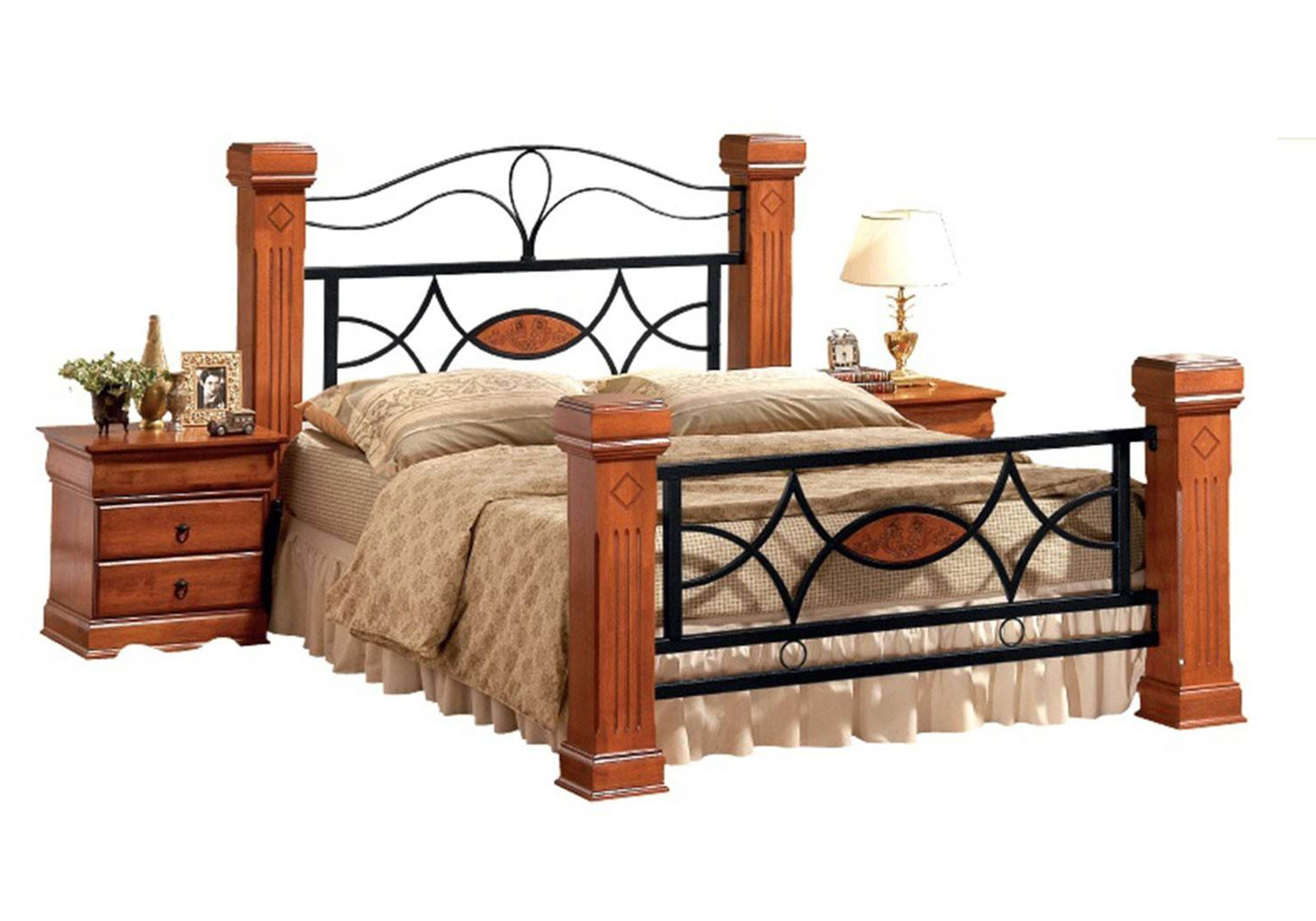 Ambers International Omega Wooden And Metal Bed Frame