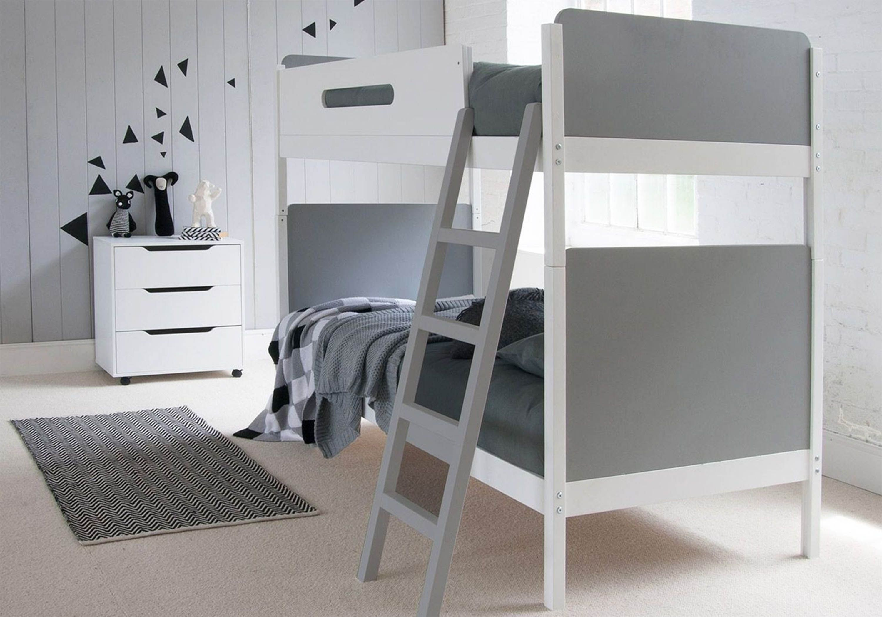 Picture of: Little Folks Furniture Simple Bunk Bed In White And Grey