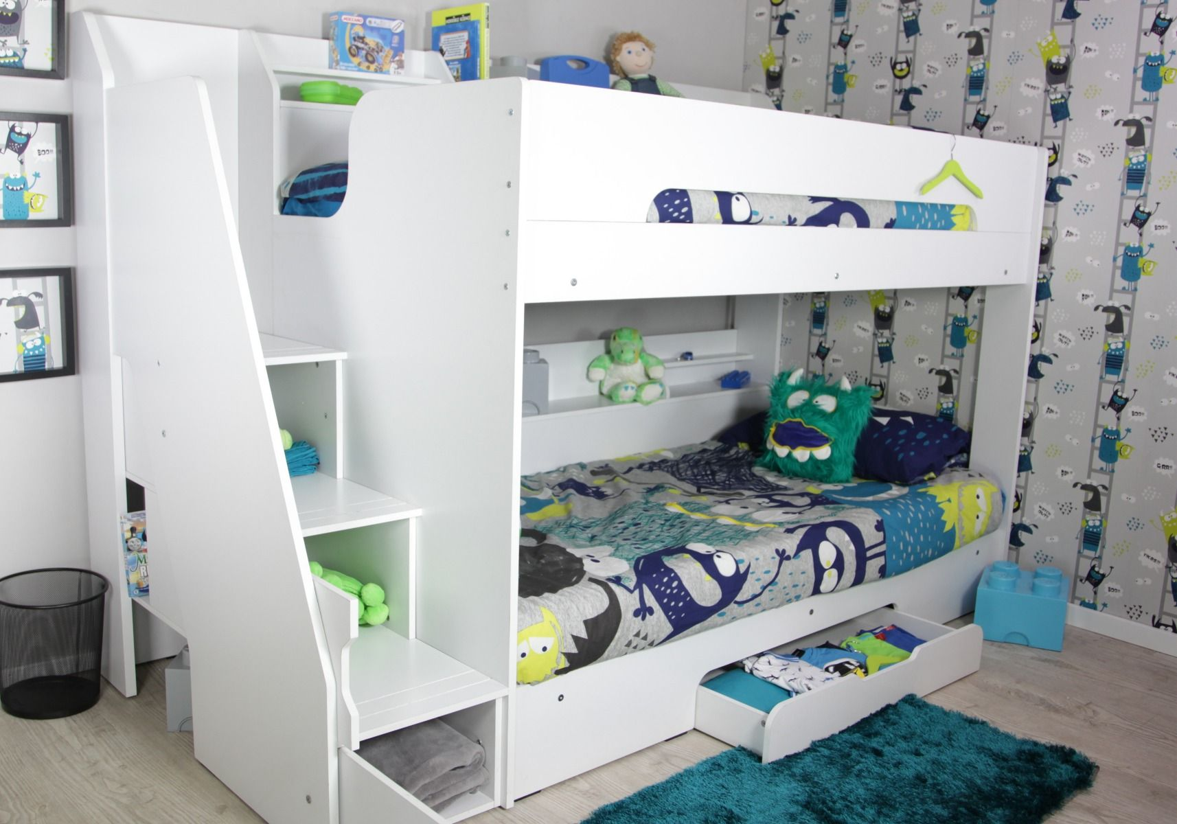 Picture of: Flair Furnishings Slick Staircase Bunk Bed White