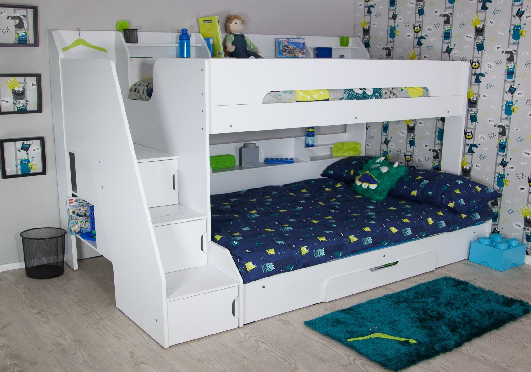Picture of: Flair Furnishings Slick Staircase Triple Bunk Bed White