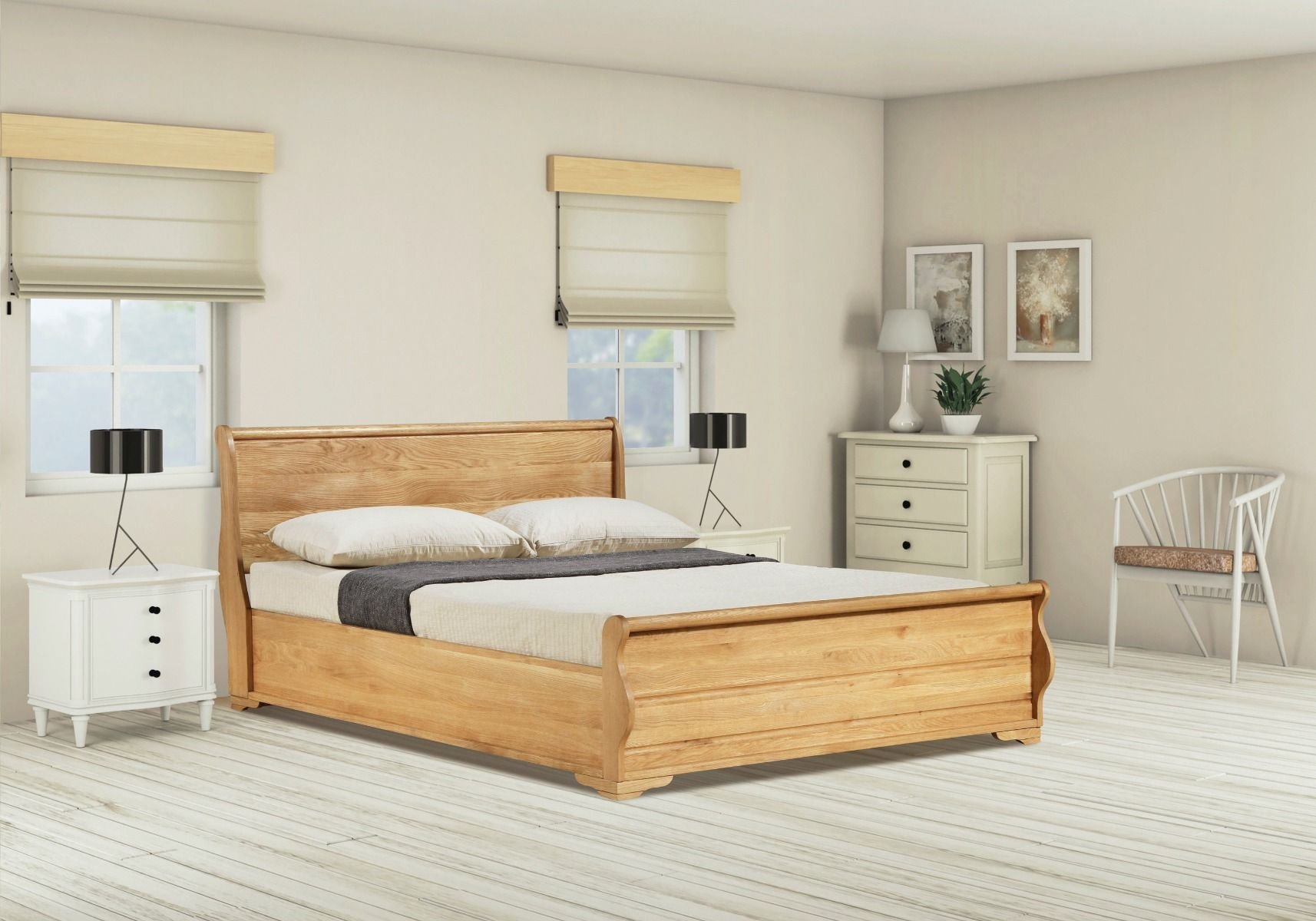 Emporia Beds Windsor Solid Oak Sleigh Ottoman Bed