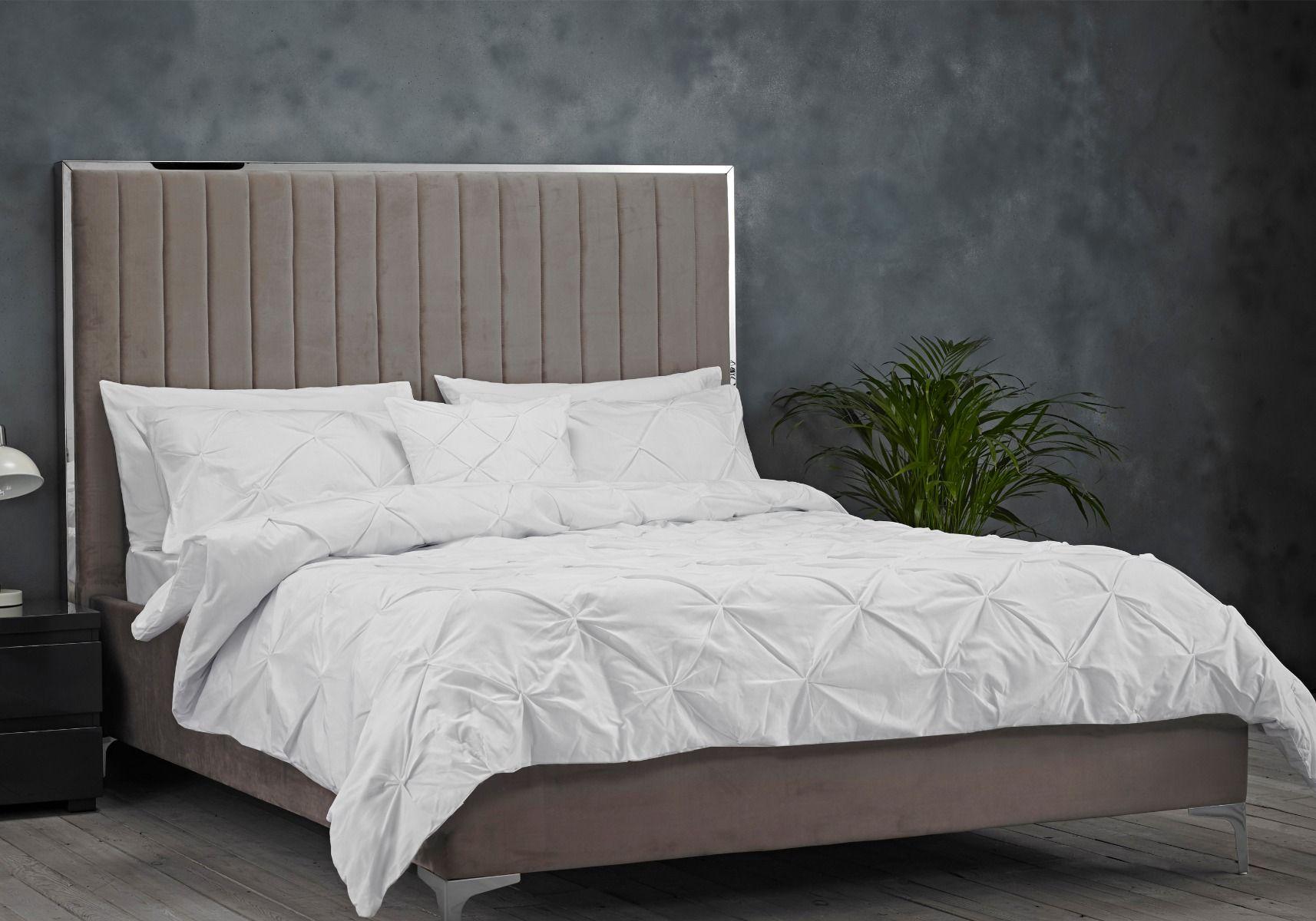 Lpd Berkeley Grey Velvet Bed Frame