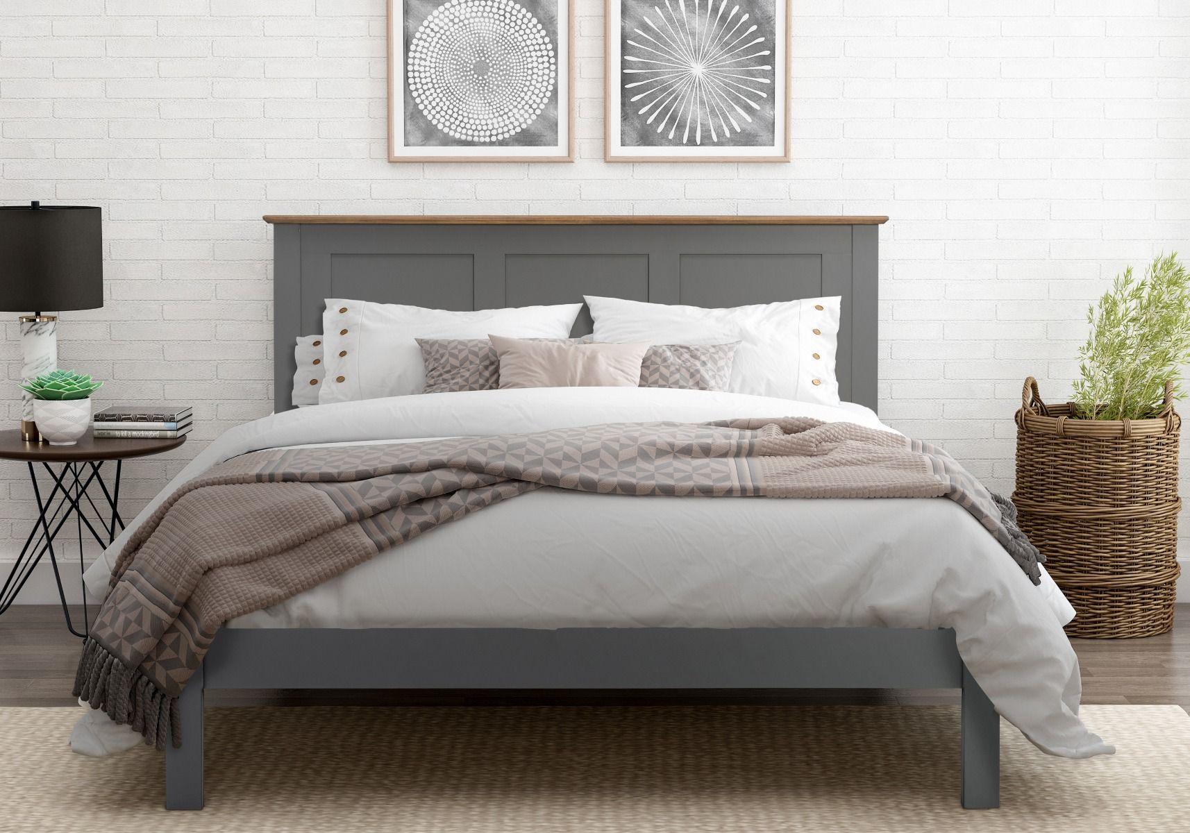 Flintshire Furniture Conway Grey Painted Oak Bed Frame