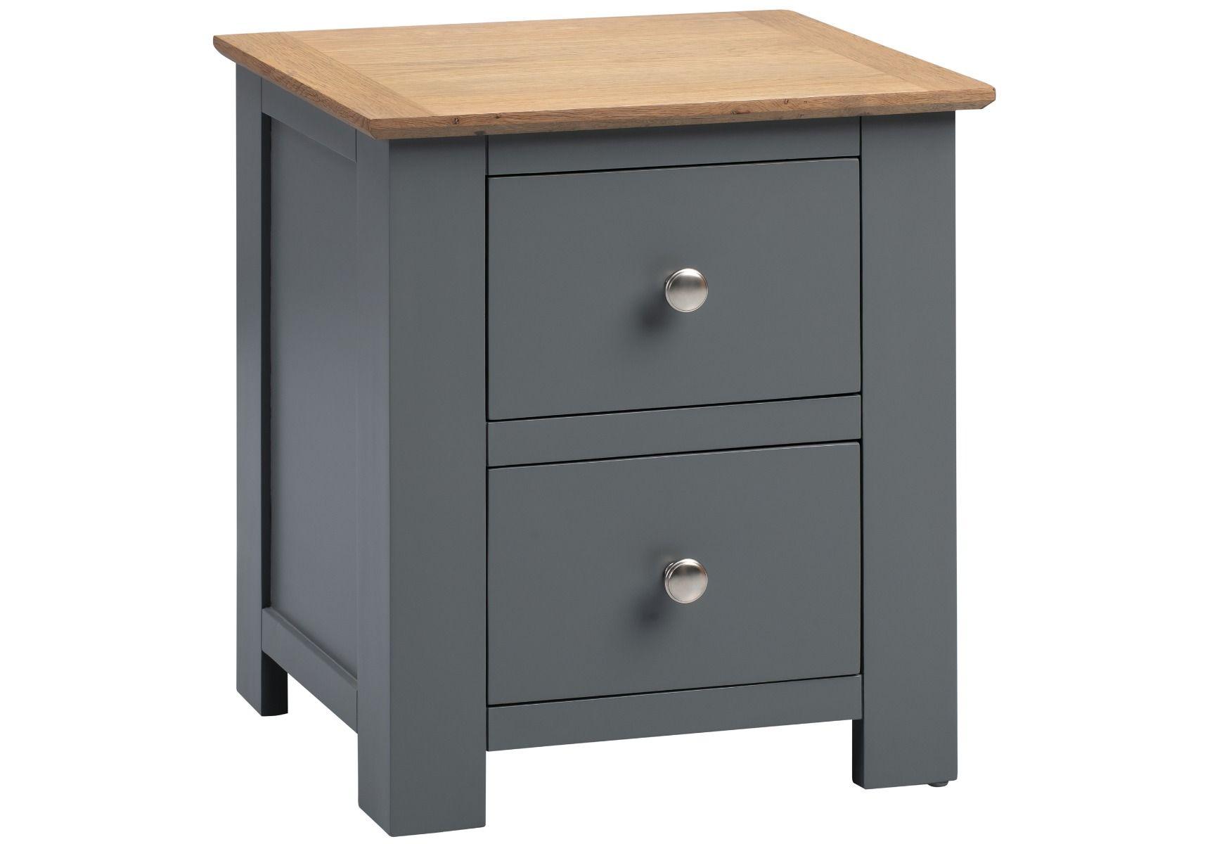 Flintshire Furniture Conway Grey Painted 2 Drawer Oak Bedside Cabinet