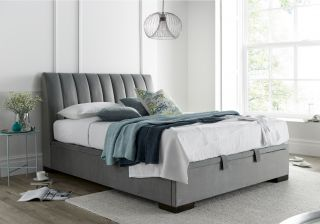 Kaydian Lanchester Fabric Ottoman Bed Frame in Pale Grey