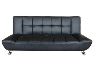 LPD Vogue Black Faux Leather Sofa Bed