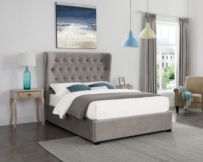 LPD Belgravia Grey Fabric OttomanBed Frame