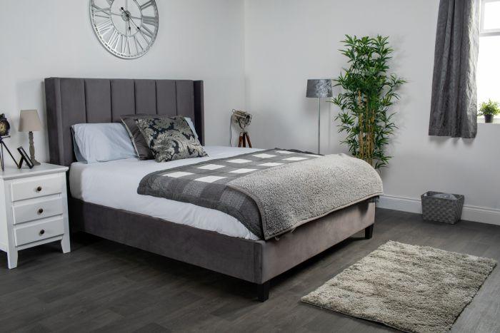 Flair Varee Dark Grey Velvet Bed Frame