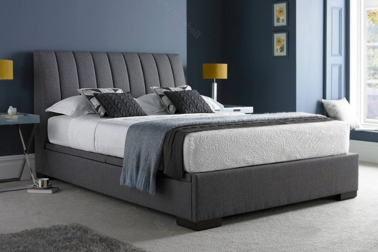 Kaydian Lanchester Ottoman Bed Frame In Grey Suede And